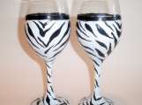 Zebra Wine Glass, Hand Painted & Dishwasher Safe!