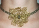 Handmade leather chocker with crochetted flower
