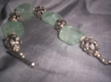 Aquamarine nugget and bali silver bracelet