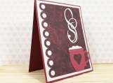 Love Mug Hand Made Card in Wine Colours