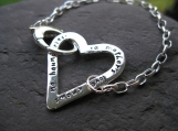 Journal Heart Bracelet . ster silver . customize with your words