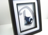 Quilled Dragon Monogram D Blue Framed