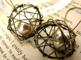 Nesting II Champagne Pearl Earrings - Nostalgia Collection