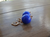 SALE!! Big Blue Balls Leverback Earrings