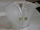 Spiral Wire Green Polka-Dot Earrings