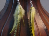Yellow &  Olive Grizzly Feather Earrings, Hot Look