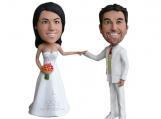 Personalized Wedding Cake Topper of a Wedding Couple in White