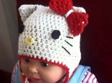 Hello Kitty Hat Crochet Pattern, All sizes, Beanie and Earflap