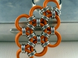 Orange Diamond Chainmaille Key Chain