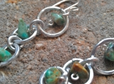 Descending Hoops and Turquoise dangle earrings Aluminum
