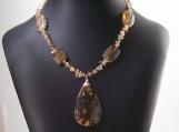 Golden Strawberry Quartz Citrine and Amber Gemstone Necklace