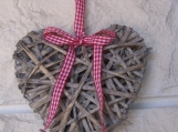 Small Wicker Heart With Red Gingham Ribbon
