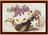 Flowers In An Indian Basket Cross Stitch Pattern