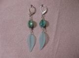Long Dangling Aqua Leaf and Bead Earrings