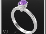 Classic Oval Purple Amethyst Sterling Silver Engagement Ring