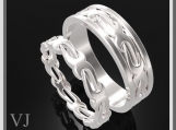 Gorgeous His And Hers Sterling Silver Matching Wedding Bands Set