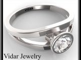 Gorgeous Moissanite 14k White Gold Engagement Ring