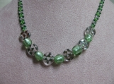 Mint Green and Crystal Beaded Necklace