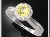 Yellow Citrine Silver Engagement Ring & Little Silver Balls