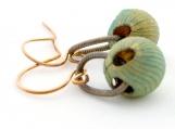 Handmade Earrings Vintage Grooved Brass Verdi Gris Patina