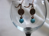 Turquoise and Antique Copper Dangling Earrings