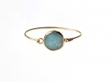 Blue Jade Bezel Bracelet 18K Gold Filled Cuff Minimalist Fashion