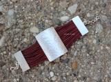 Leather wine red hammered unique bracelet