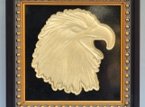 Eagle Head 4 - Engraved Black Vintage  Granite Tile Plaque Frame