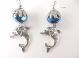 Blue beaded dolphin earrings