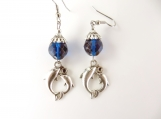 Blue twin dolphin earrings