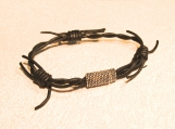 Bracelet-Barbed wire-leather with Antique Silver Magnetic Clasp