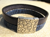 Bracelet-Leather-Denim Blue WIth Antique Swirl Magnetic Clasp