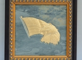 Eagle and Flag -  Engraved Grey Slate Tile Plaque in Wood Frame