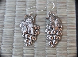 Earrings-Antique Silver Stamped Grape cluster