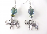 Midnight blue elephant earrings