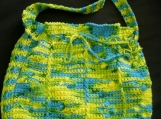 Hand-crocheted Shoulder Bag, Lime, Teal, Yellow
