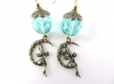 Aqua and gold fairy earrings
