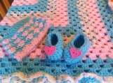 baby blanket with hat and booties