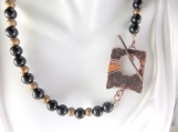 Rustic black and gold necklace