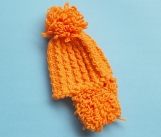 Hand-Knitted Baby Hat (Orange)