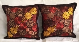 """2 (brown ) pillow covers handwoven and embroidered 19.5"""" x 19.5"""""""
