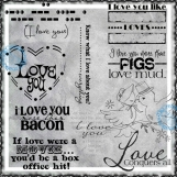 I Love You Like...Digi Word art and Image Set