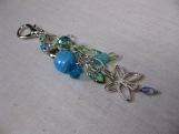 Green and Blue Beaded Butterfly Charm Handbag Accessory