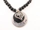 Hand stamped - mom - heart bracelet  ( med )