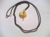 Gold Hammered Disk Long Necklace