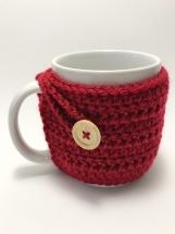 Mug Cozy, Crocheted Red Mug Cozy, Set of 2 Cup Cozies, Cup Cozy