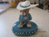 Cowboy Bear Figurine on Hand Painted Small Stone