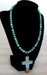 Blue Rainbow Calsilica Cross Jewelry Set