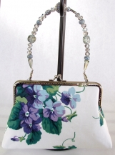 Purple Floral Clutch with Removable Handle 2
