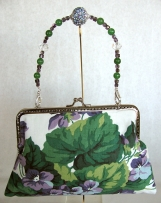 Purple Floral Clutch with Removable Handle